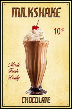 Retro Milchshake Print, Schokolade Milchshake Foto, Vintage, Malz Shop Foto, K . Vintage Advertisements, Vintage Ads, Vintage Signs, Vintage Posters, Vintage Photos, Vintage Food, Milk Shakes, Chocolate Milkshake, Hot Chocolate