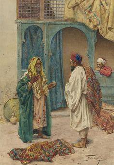 Giulio Rosati (Italian, 1858-1917). The Conversation, watercolour on brown paper, 53,3 x 56,8cm.
