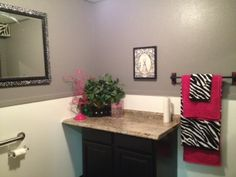 I LOVE the bathroom! Sparkly paint... hot pink and zebra... what's not to love?