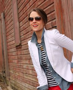 different take on creating an all-American look: white blazer + chambray shirt + blue/white striped tee + red pants