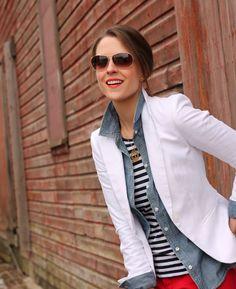 重ね着スタイル:Layers: blazer, chambray, stripes