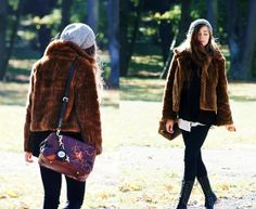 Fur coat, Lace-up boots