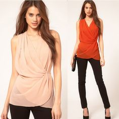 New Fashion Women Chiffon Blouse V Neck Wrap Front Sleeveless Casual Vest Tank Top Pink/Red