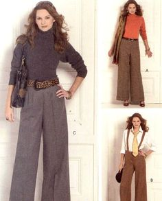 High waisted pants Sew News sewing pattern McCalls M5476 Flared pants with or without suspenders Sz 14 to 20 Uncut