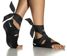 How cute! Toeless Pilates /yoga shoes :)