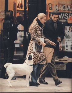 Carolyn Bessette walking her dog Friday in the famous vintage leopard coat. #JFKJr