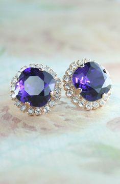Royal purple crystal earrings | purple crystal earrings | purple wedding | royal purple | www.endorajewellery.etsy.com