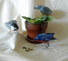 I guess I have a bird theme going here. These are some cute paper mache birds we made recently. They have wire feet whic...