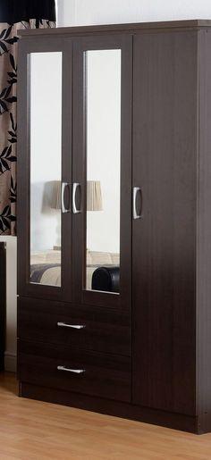 Three door wardrobe with double mirror