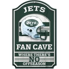 NFL New York Jets 11-by-17 inch Fan Cave No Offseason Wood Sign