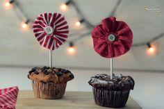 Flores de tela para cupcakes