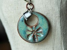 Soft Watercolor Effect Ceramic Pendant Flower in Caribbean