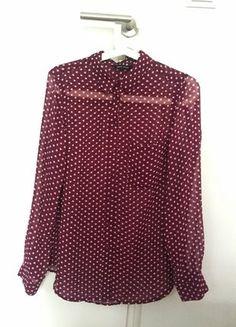 Kup mój przedmiot na #vintedpl http://www.vinted.pl/damska-odziez/koszule/17936098-koszula-bordowa-w-kropki