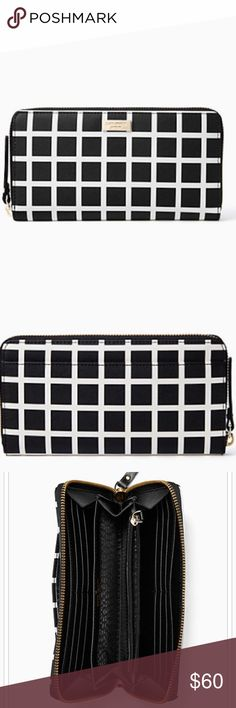 Kate Spade Shore Street Lacey Wallet Great checkered black and white wallet. Contains 12 cars slots, 2 billfolds, a zipper change pocket and and outside side pocket. Has the gold Kate Spade decal on the outside. kate spade Bags Wallets