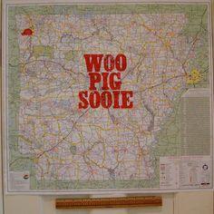 Woo Pig Sooie Arkansas Razorback Map Letterpress Print Hogs. $50.00, via Etsy.
