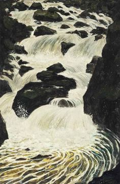 """arsvitaest: """" C. Nevinson, The Waterfall, oil on canvas """" Abstract Landscape, Landscape Paintings, Watercolor Paintings, Landscapes, Oil On Canvas, Waterfall, Survival, Clouds, Fine Art"""