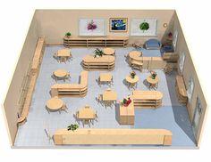 classroom layout by Sandy Becker Brisson Montessori Classroom Layout, Preschool Layout, Reggio Emilia Classroom, Preschool Rooms, Montessori Room, Montessori Education, Classroom Organisation, Preschool Classroom, Montessori Materials