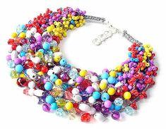 2602 collier de couleur, collier court, collier au crochet, mulikolor, collier pour un cadeau, pour un anniversaire, tous les jours