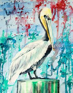 Pelican Bird Watercolor Painting PRINT  by SeaSideCreations1
