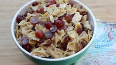 Try this delicious bowtie pasta salad mixed with chicken, dried cherries, almonds, and and tossed in a homemade poppyseed dressing! Thanks RD for the yummy recipe! Grape Recipes, Summer Recipes, Soup Recipes, Salad Recipes, Kitchen Recipes, Easy Recipes, Vegan Recipes, Cucumber Pasta Salad, Grape Salad