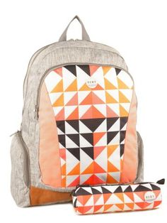 55€ 48cm 27l Sac A Dos 3 Compartiments+trousse Assortie Offerte Roxy Gris backpack JBP03127