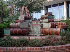 Book fountain at the Main Library in Cincinnati — with Sabrina Di Rosa.