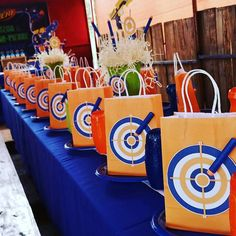 OneFineDayParties's Birthday / Nerf guns - Photo Gallery at Catch My Party 7th Birthday Party Ideas, 11th Birthday, Birthday Party Decorations, Party Themes For Boys, Nerf Gun Cake, Nerf Party, Party Hats, Mad Hatters, Wonderland Party