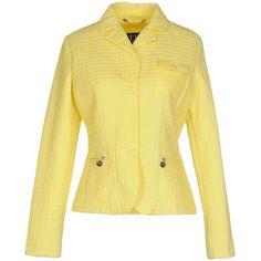 Trussardi Jeans Blazer ($135) ❤ liked on Polyvore featuring outerwear, jackets, blazers, yellow, blazer jacket, logo jackets, beige blazer, long sleeve jacket and collar jacket