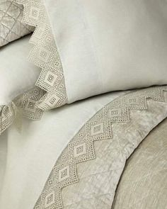 Crochet Borders Amity Home King Camilla Sheet Set - Sheets made of linen. set includes king flat sheet, king fitted sheet, and two 20 x 40 king pillowcases. Machine wash or dry clean. Home Tex, Amity Home, Crochet Borders, Crochet Edgings, King Sheet Sets, Linens And Lace, Bedding Collections, Soft Furnishings, Luxury Bedding