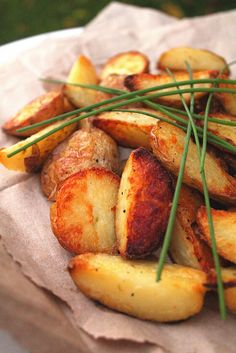 ~ crispy potato wedges ~ boil with skins ~ refrigerate ~ slice ~ toss with oil, salt, pepper ~ roast at 425 degrees until browned on all sides ~ tip - use my convection setting to brown on all sides at once ~
