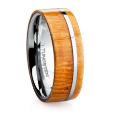 Tungsten bamboo wedding band. Bamboo is one of the hardest and most durable woods on the planet.
