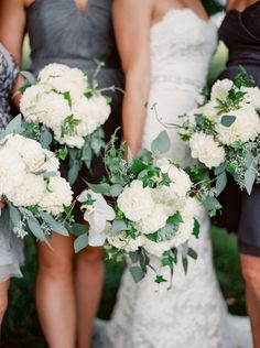 White blooms and greenery for days: http://www.stylemepretty.com/canada-weddings/ontario/2015/01/13/rustic-glam-ontario-wedding/   Photography: When He Found Her - http://www.whenhefoundher.com/