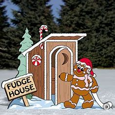 "Gingerbread Outhouse Pattern:  Okay lighten up with some gingerbread humor. Your friends and family will surely bust a gut over this one! (See page 62 & 3 for more gingerbread fun!). 36""H x 47""W   Pattern #2223  $14.95    ( crafting, crafts, woodcraft, pattern, woodworking, yard art ) Pattern by Sherwood Creations"