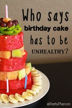 Easy and fun birthday cake made of delicious fruit!- Edwards Edwards Reed Riedmiller This will resemble my cake I think ; Fruit Birthday Cake, Cool Birthday Cakes, Healthy Cake, Healthy Desserts, Cupcakes, Cupcake Cakes, Cake Made Of Fruit, Biscuits, Good Food