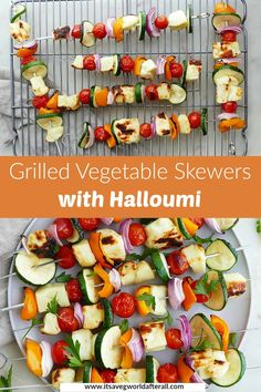 Using halloumi cheese as a substitute for meat, these Mediterranean veggie skewers are a delicious vegetarian option. Make them for your next cookout or BBQ! #halloumi #skewers