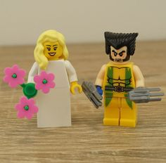 Wolverine Lego, Lego bride and groom, Lego cake toppers, Lego wedding cake topper, Lego Wedding, Wedding Lego, Lego minifigures, Lego, Wolverine Cake Topper, Wolverine Wedding. Here is a set of a Super-cute Lego MiniFigure Couple - The Xman Wolverine and his lovely Bride.  These Wedding-themed figures are absolutely adorable, and this set is perfect as a wedding gift, anniversary gift or for any other special couples occasion…