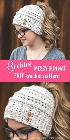 So cute! Free Crochet Pattern for the Chelsea Beehive Messy Bun Hat from Made with a Twist! It even comes with an optional upgrade to make it with stripes and a bow!