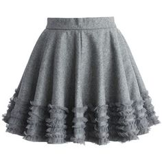 Chicwish Ruffles Wool Blend Skater Skirt in Grey