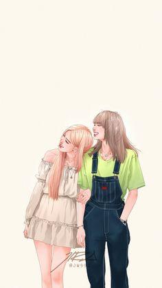 Pink Drawing, Cute Girl Drawing, Kpop Drawings, Cute Drawings, Film Manga, Lisa Blackpink Wallpaper, Black Pink Kpop, Kim Jisoo, Blackpink Photos