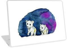 This is a watercolor painting of two polar bear brothers walking. The background is the dark blue sky with a bit of magenta mixed. • Also buy this artwork on phone cases, apparel, stickers, and more.