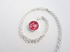 Single Charm Necklace Pink Rose Hand Painted by turquoiseeye