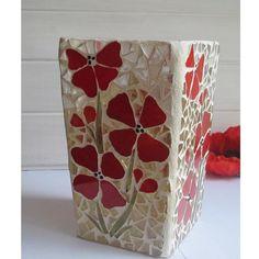 Poppy Mosaic Vase by mosaicsbyfosic on Handmade Australia Mosaic Planters, Mosaic Vase, Mosaic Flower Pots, Mosaic Tiles, Mosaics, Tiling, Vitromosaico Ideas, Cool Ideas, Mosaic Crafts