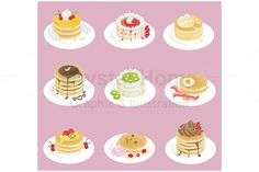 Pancake icon collection set by Crytal Home Images on @creativework247