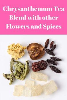 Chrysanthemum tea blend with other flowers and spices Chrysanthemum Tea, Irish Breakfast, Jasmine Tea, Herbal Teas, Tea Blends, Afternoon Tea, Herbalism, Spices, Tasty