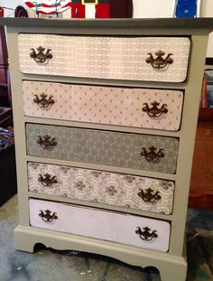 Chest of Drawers makeover. Scrapbook paper and modpodge