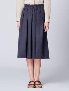 Silk-linen twill skirt