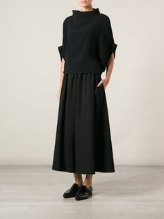 Yohji Yamamoto shortened the pants with a wide leg -You can find Yohji yamamoto and more on our website.Yohji Yamamoto shortened the pants with a wide leg - Yohji Yamamoto, Mode Outfits, Fashion Outfits, Womens Fashion, Fashion 2018, Fashion Clothes, Stylish Outfits, Fashion Brands, Cropped Wide Leg Trousers