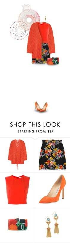 """Luxuriant blooming (orange tones)"" by muse-charming ❤ liked on Polyvore featuring M Missoni, Trilogy, MSGM, Alice + Olivia, Manolo Blahnik, Serpui and Adia Kibur"