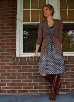 Belted Dress with brown boots