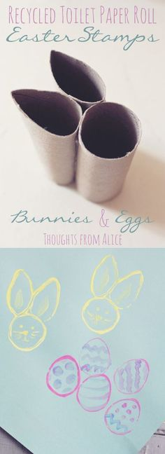 Simple Easter Crafts for Kids - Tissue Paper Roll Easter Bunny and Egg Stamp. Tissue Paper Roll, Paper Roll Crafts, Toilet Paper Roll, Easter Crafts For Kids, Toddler Crafts, Diy For Kids, Easter Activities For Children, Bunny Crafts, Easter Crafts For Preschoolers